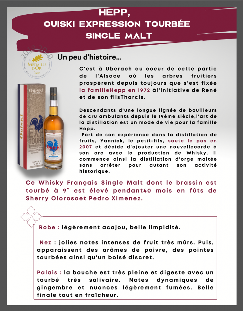 HEPP,  Ouiski Expression Tourbée  Single Malt